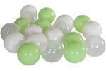 Białe piłeczki do basenu, seledynowe piłeczki, przeźroczyste piłeczki